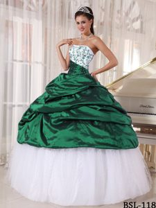 Recommended Strapless Embroidery Quinceanera Gown in Taffeta and Tulle