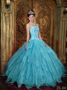 Gorgeous Strapless Organza Aqua Blue Sweet 16 Dresses with Appliques