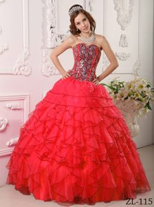 Custom Made Red Sweetheart Organza Quinceanera Gown with Beading