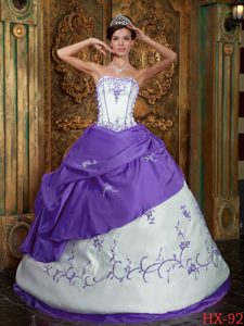Classical Eggplant Purple Strapless Embroidery Satin Quinceanera Dress