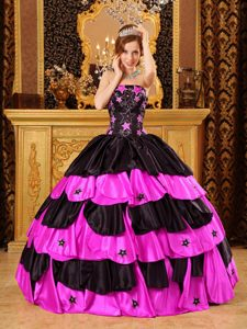 Lovely Strapless Taffeta Sweet 15 Dress with Beading in Black and Hot Pink
