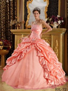 Classy Watermelon Taffeta and Tulle Strapless Beaded Quinceanera Gowns