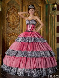 Luxurious Quinceanera Gown Dresses in Zebra with Ruffles and Sweetheart