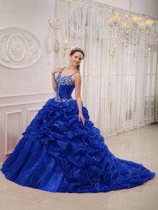 Royal Blue Spaghetti Straps Court Train Organza Beaded Dress for Quince