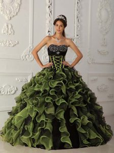 Sweetheart Organza Beaded Sweet Sixteen Quinceanera Dresses in Green