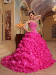 Hot Pink Spaghetti Straps Embroidery Sweet Sixteen Dresses in Organza