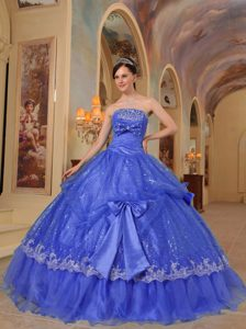 Customize Blue Strapless Dress for Quince with Bows in Sequins and Organza