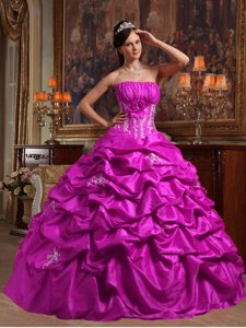Strapless Taffeta Sweet Sixteen Dress with Appliques and Pick-ups in Fuchsia