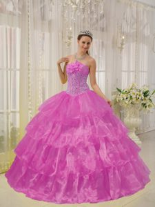 Fuchsia Strapless Quinceaneras Dress in Taffeta and Organza with Beading