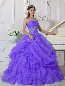 Strapless Organza Beading Quinceanera Gown Dresses in Purple for Spring