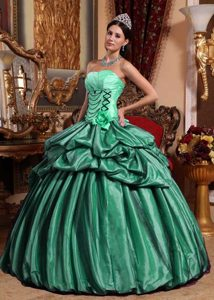Hunter Green Strapless Taffeta Quinceanera Gown with Hand Made Flowers