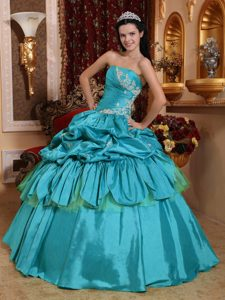 Teal Strapless Quinceanera Dresses with in Taffeta Appliques and Pick-ups