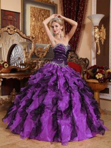 Ruffled and Beaded Purple Quinceanera Gown Dresses with Heart Shaped Neckline