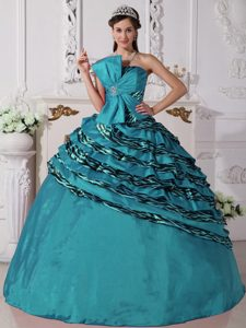 Beading Zebra Teal Dresses for Quinceanera with Ruffled Layers in Wholesale price