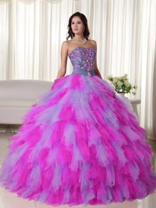 Pretty Multi-colored Sweet Sixteen Quinceanera Dresses with Ruffles and Appliques