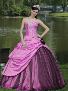 Custom Made Beaded Quince Gown Dresses with Appliques in Hot Pink and Black