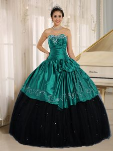 Beaded and Ruched Dress for Quinceanera with Embroidery in Black and Turquoise