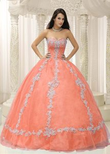 Sweetheart Beading Quince Dresses with White Appliques in Orange on Promotion