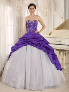 Luxurious Purple and White Quince Gown Dresses with Pick-ups and Embroidery