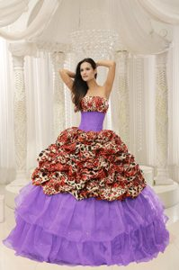 New Stylish 2013 Strapless Beaded Purple Quince Dress with Leopard and Pick-ups