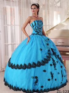 Princess Strapless Appliques and Lace Quinceanera Gown Dress in Turquoise