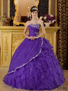 Hot-seller Purple Strapless Organza Appliques Ruffled Sweet Sixteen Dresses