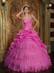 Hot Pink Sweetheart Taffeta and Tulle Quinceanera Gowns with Appliques
