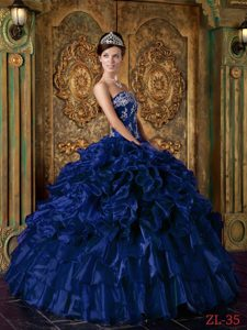 Inexpensive Dark Blue Strapless Organza Quinceanera Dresses with Ruffles