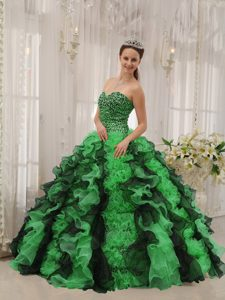 Multi-colored Sweetheart Floor-length Beaded Sweet 16 Dresses in Organza