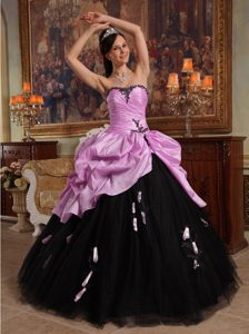 Pink and Black Quinceanera Dresses with Hand Flowers in Tulle and Taffeta