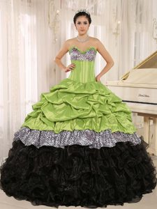 Yellow Green and Black Sweet 16 Dress in Taffeta and Organza with Ruffles