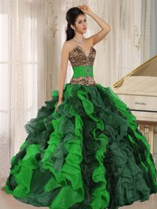 Wholesale Multi-color Leopard Sweet 15 Dresses with Ruffles and Beading