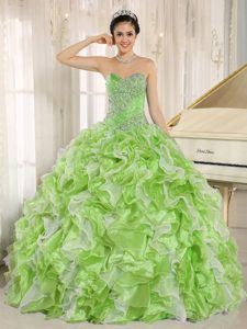 Custom Made Spring Green Quinceanera Gowns with Beading and Ruffles