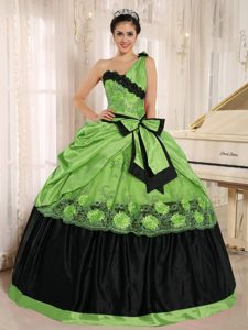Spring Green One Shoulder 2013 Quince Dress with Bowknot and Appliques