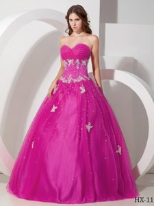 Wonderful Tulle Appliqued Fuchsia Quinceanera Gown Dress under 250