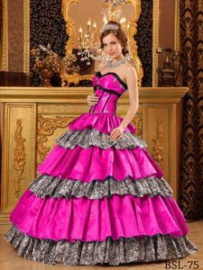 Elegant Hot Pink Ruffled Sweetheart Long Quinceaneras Dress under 250