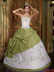 Olive Green and White Embroidered Satin Quinceanera Gown Dresses
