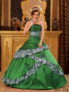 Green Zebra and Taffeta Embroidered Best Seller Dress for Quinceanera