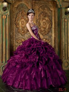 Luxurious Long Strapless Ruffled Organza Sweet Sixteen Dress in Purple