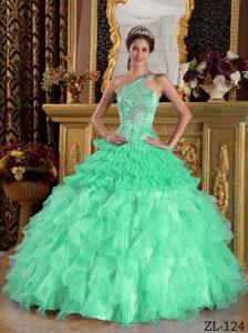 Apple Green One Shoulder Organza Impressive Sweet 16 Dress for Fall