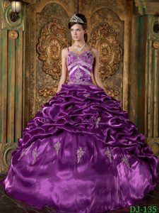 Eggplant Purple Taffeta Long Magnificent Quinceaneras Dress for Winter
