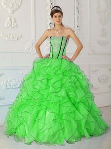 Impressive Strapless Spring Green Quinceanera Gown with Appliques