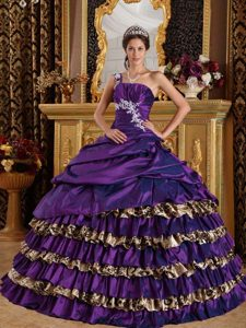 One Shoulder Dark Purple Leopard Romantic Quinceanera Dress for Fall