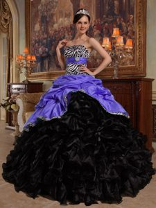 Purple and Black Sweetheart Exquisite Quinceanera Gown Dress for Fall