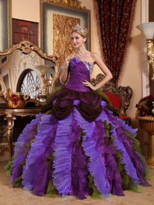 Gorgeous Appliqued Strapless Multi-colored Ruffled Quinceanera Dress with Flowers