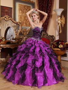 Sweetheart Ball Gown Fuchsia and Black Quinceanera Dress with Beading and Ruffles