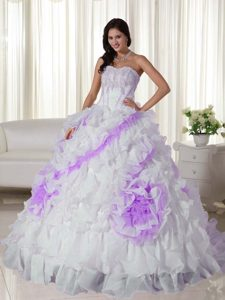 Sweetheart White and Lavender Appliqued Quinceanera Dresses with Rolling Flowers