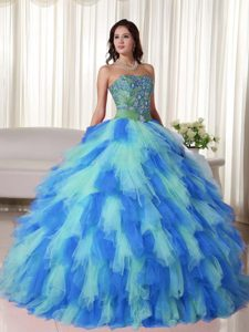Multi-colored Sweetheart Tulle Sweet 15 Dress with Appliques and Ruffles for Cheap