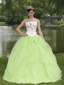 White and Light Green Strapless Embroidered Quinceanera Dresses with Bow on Sale