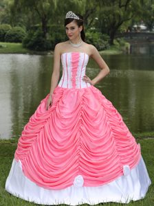 Strapless Watermelon and White Taffeta Drapped Quinceanera Dress with Appliques